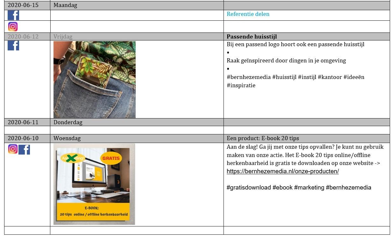 Voorbeeld contentkalender - uitleg en aan de slag